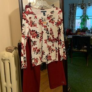 NWT Karen Scott long sleeve pullover white/red/tan